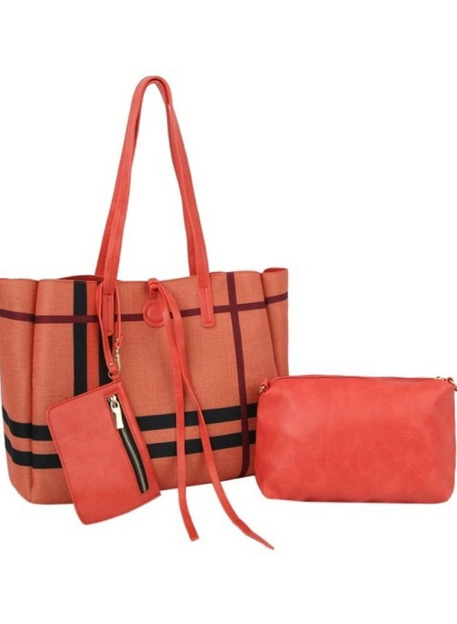 reversible 3 in 1 shopper coral with plaid print