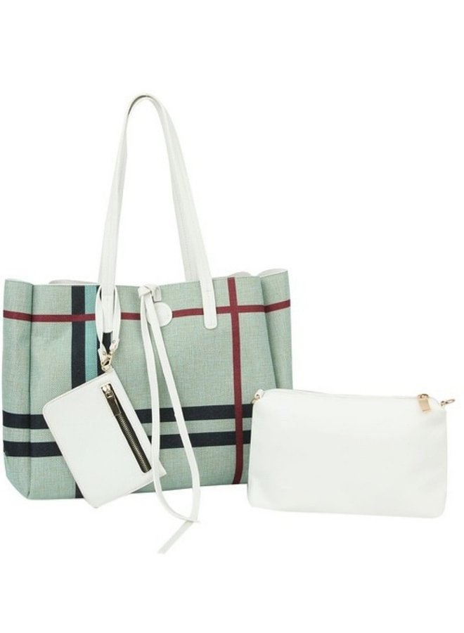reversible 3 in 1 shopper mint with plaid print