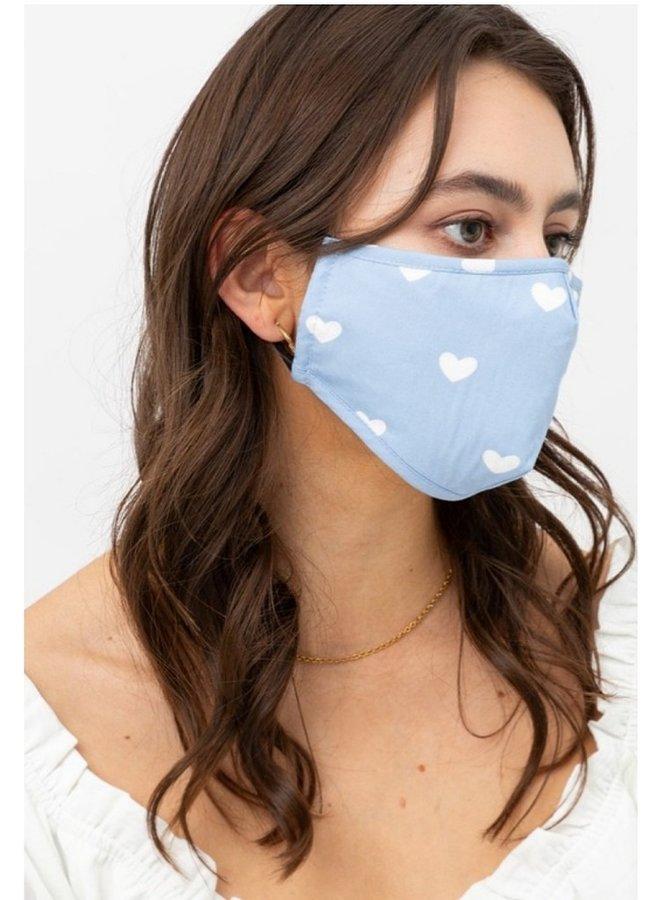 heart face mask blue