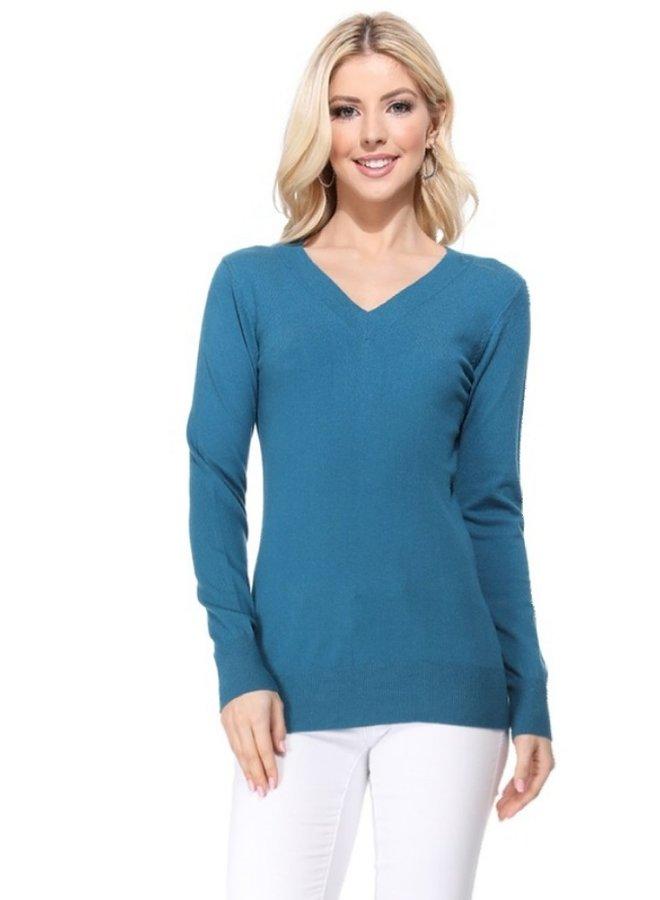 long sleeve v neck sweater