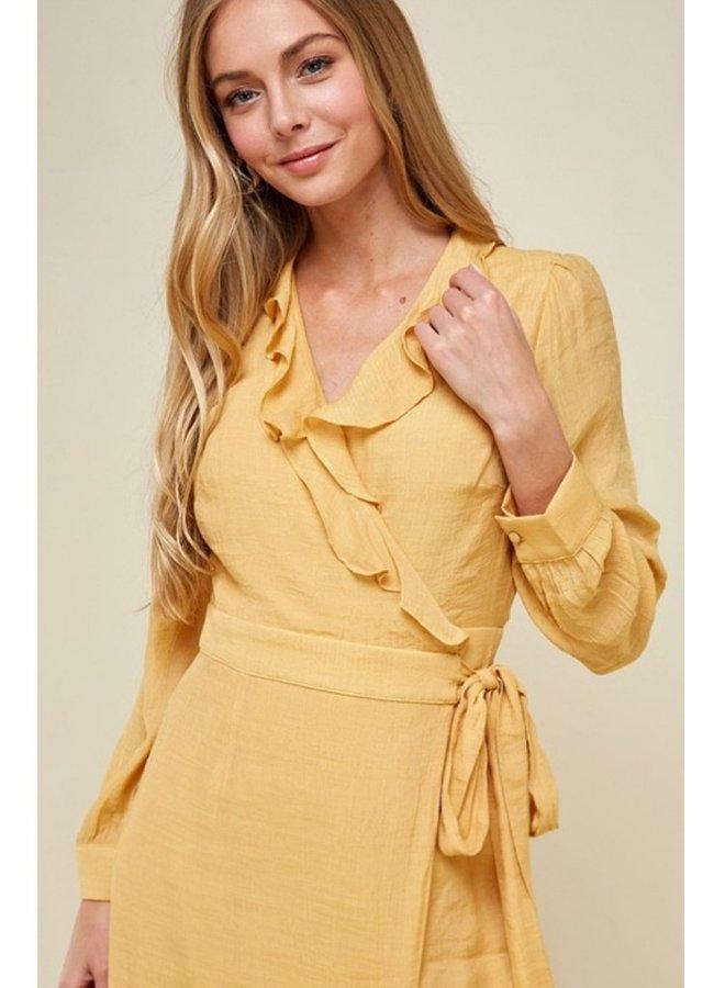 solid ruffle wrap dress