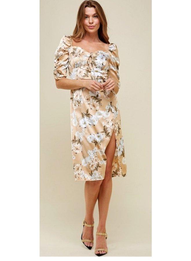 floral printed sweetheart neckline dress