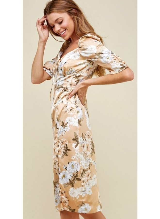 floral printed sweetheart neckline dress