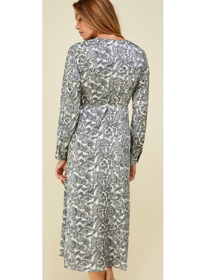paisley button down satin dress