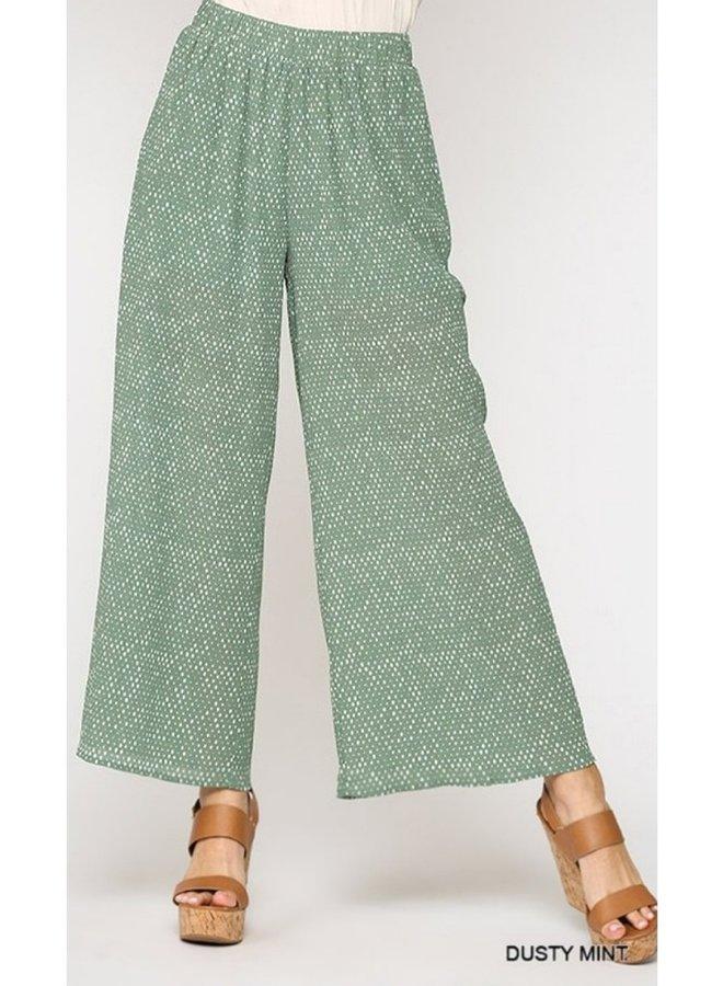 pleated chiffon dot printed pants with lining