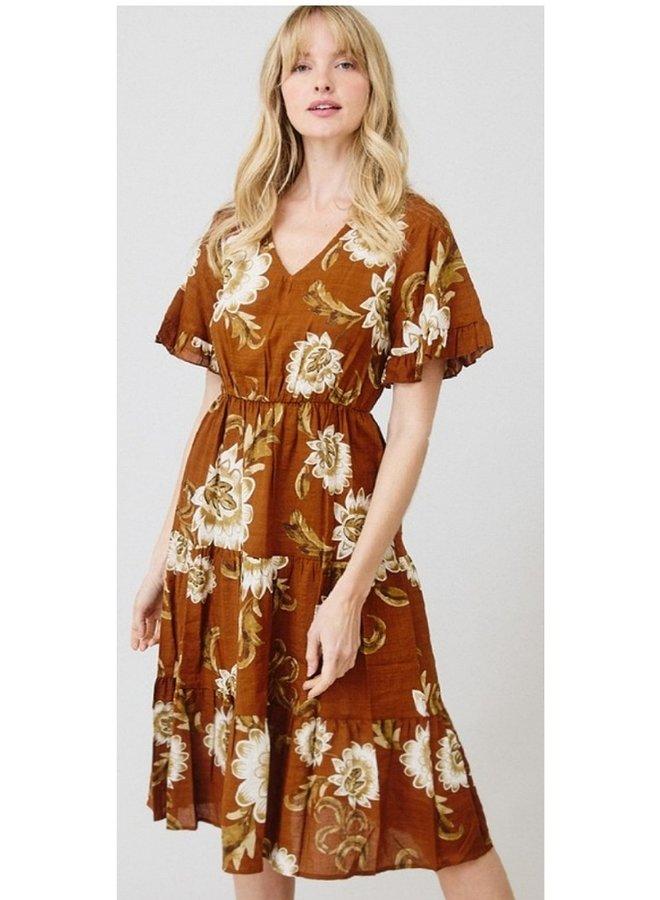 floral printed  cotton midi dress