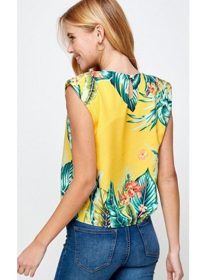 padded shoulder tropical print top