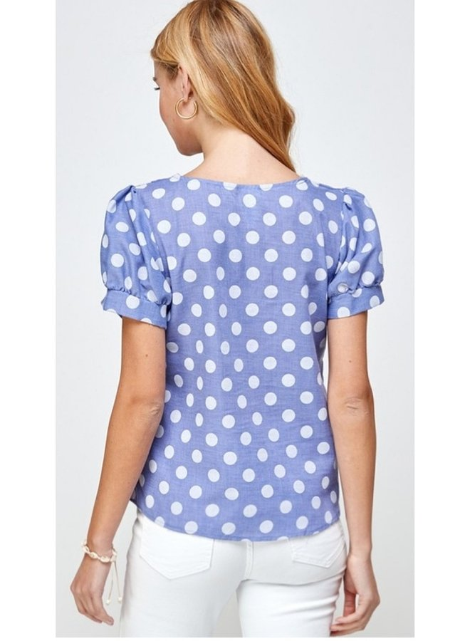 polka dot blouse with sweetheart neckline