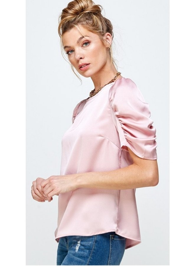 satin blouse with shirred sleeves