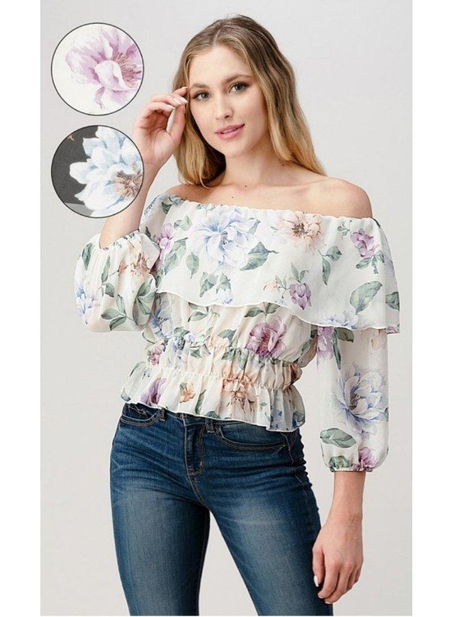 sheer floral off shoulder peasant top