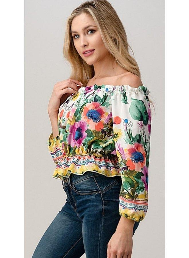 floral off shoulder peplum top