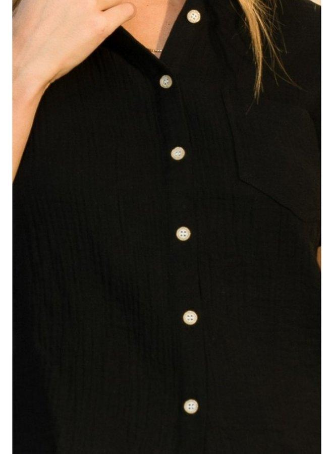 short sleeve textured button up top