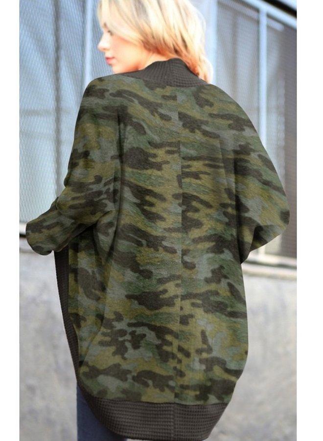 camo print dolman sleeve cardigan