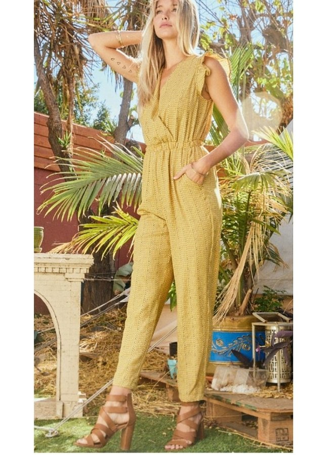 Ditsy print woven jumpsuit