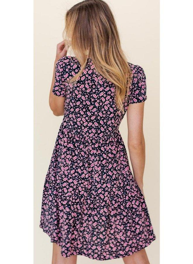 ditsy print mini dress