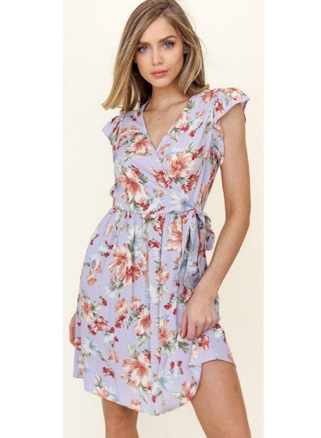 floral print ruffle sleeve midi dress