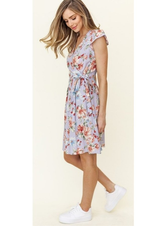 floral print ruffle sleeve faux wrap dress