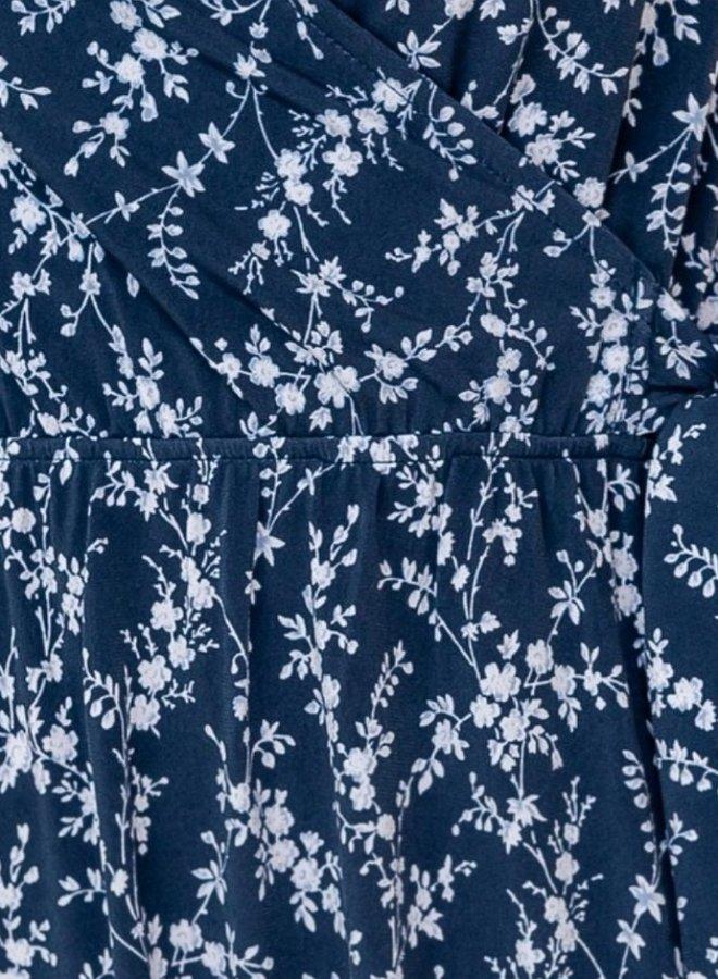 short sleeve faux floral wrap dress