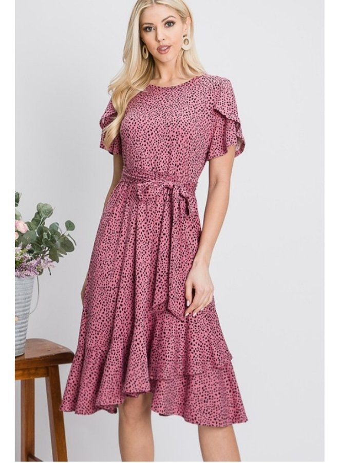 tulip sleeve dotted midi dress in rose