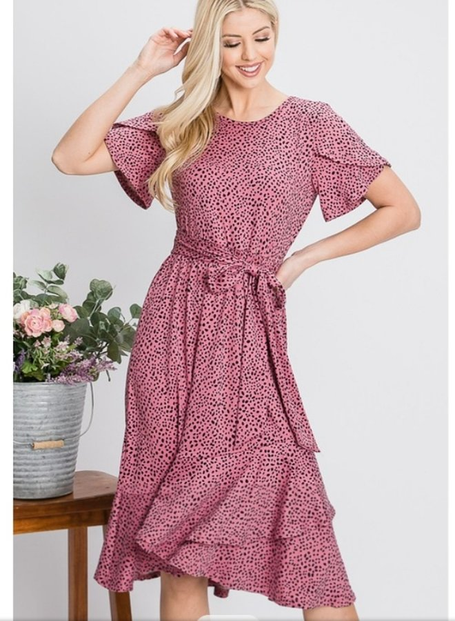tulip sleeve rose dotted midi dress