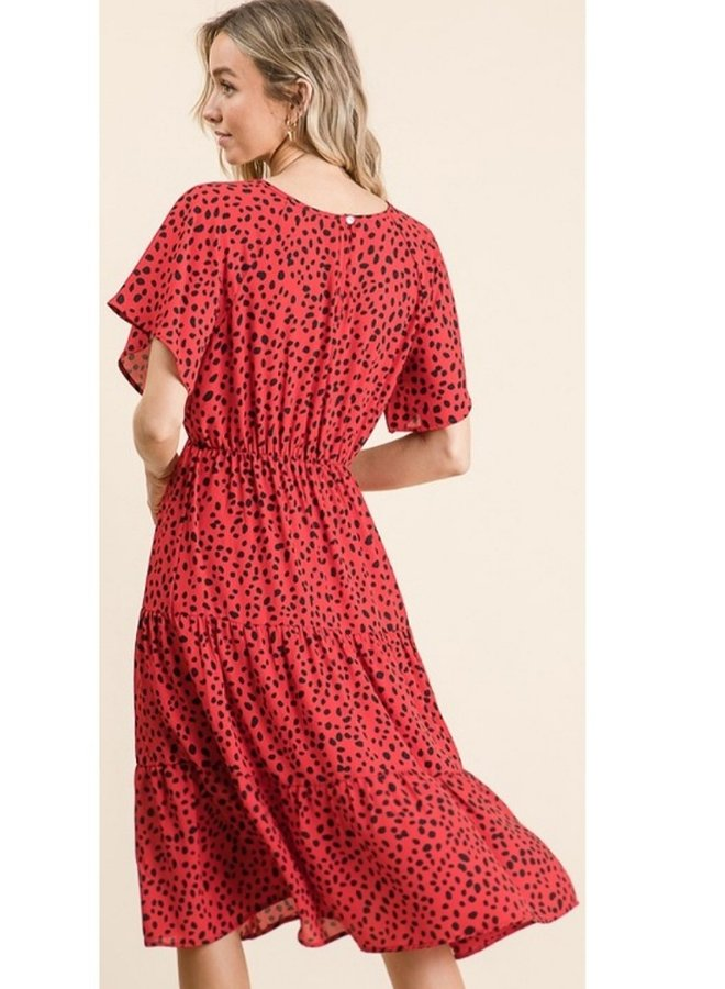 short sleeve red dot dress
