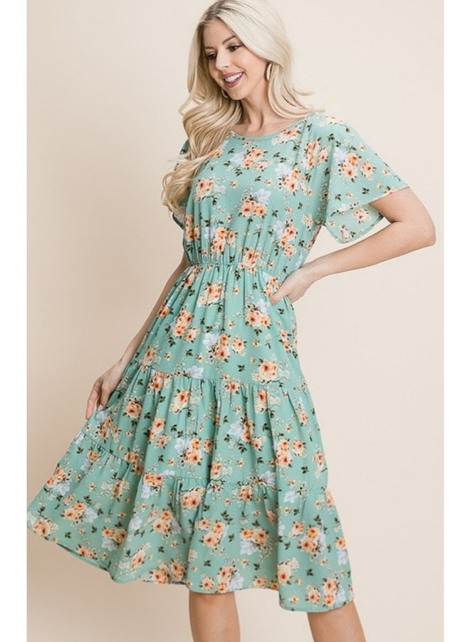 Midi Length Floral Tiered Dress