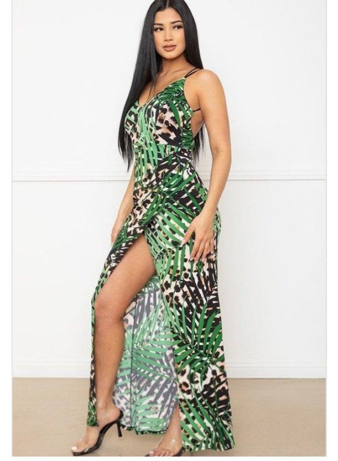 tropical leaf animal print maxi dress