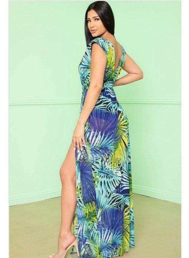 tropical leaf print maxi dress