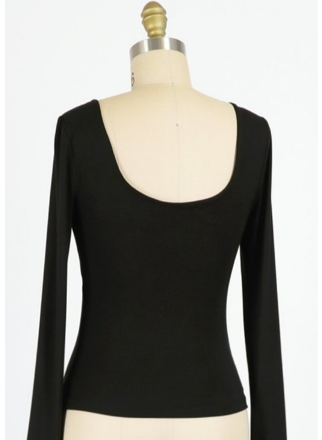 boat neck-low back  top
