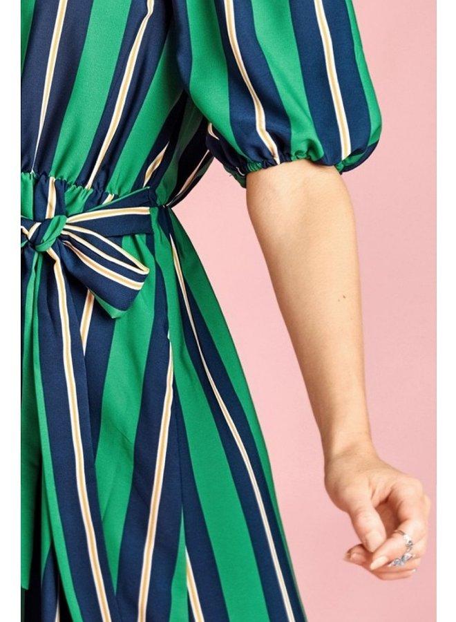 off-shoulder short sleeve striped dress