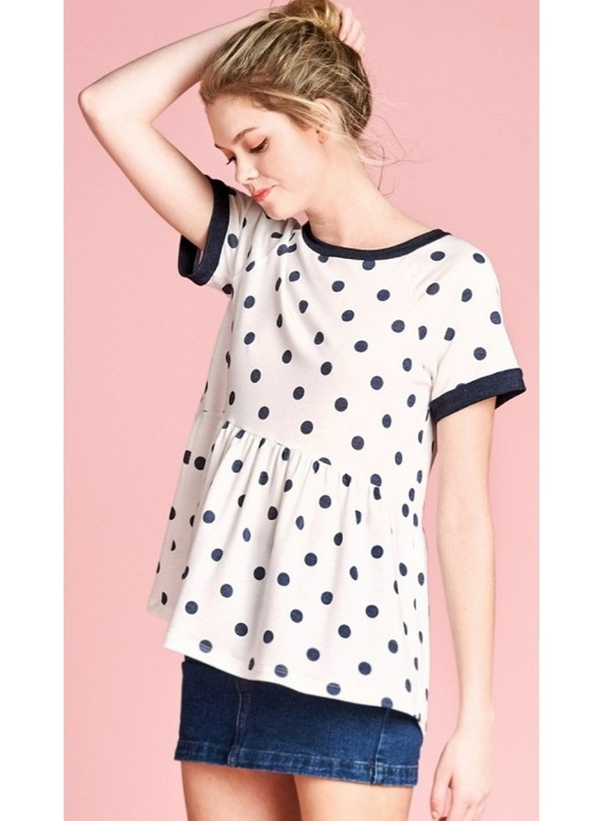 dotted knit terry print top