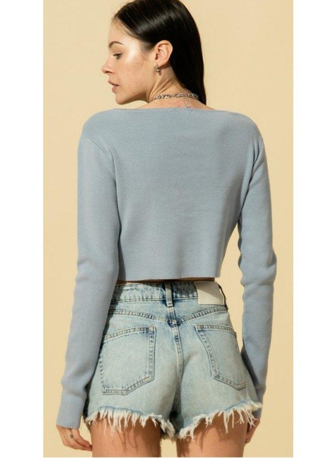 round neck long sleeve crop sweater