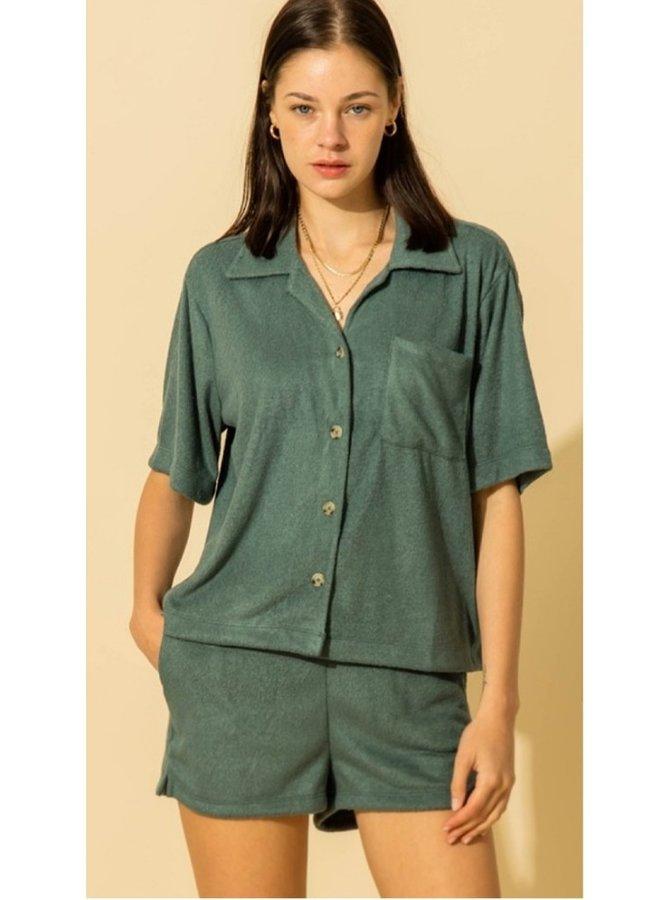 oversized short sleeve button down shirt