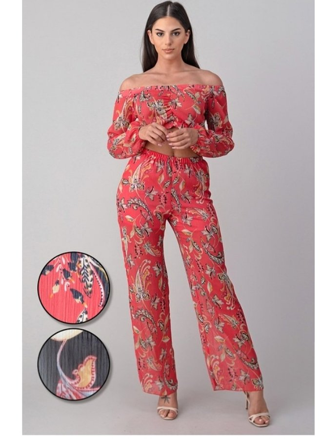crop top and floral pant set