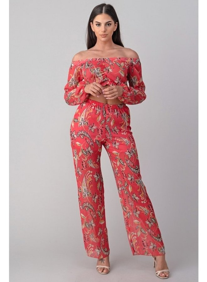 crop top and floral pant set