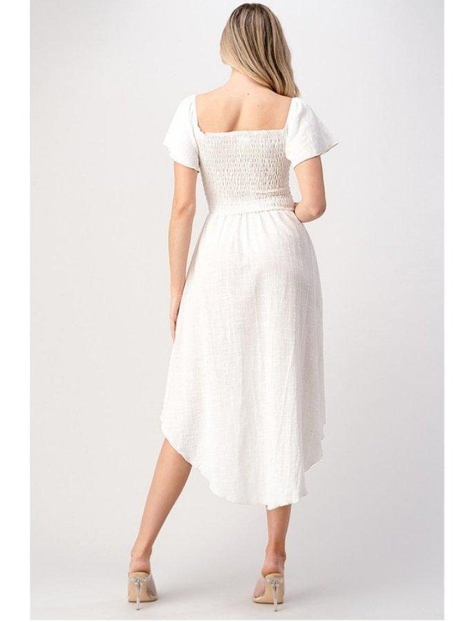 Hi and low smocked dress