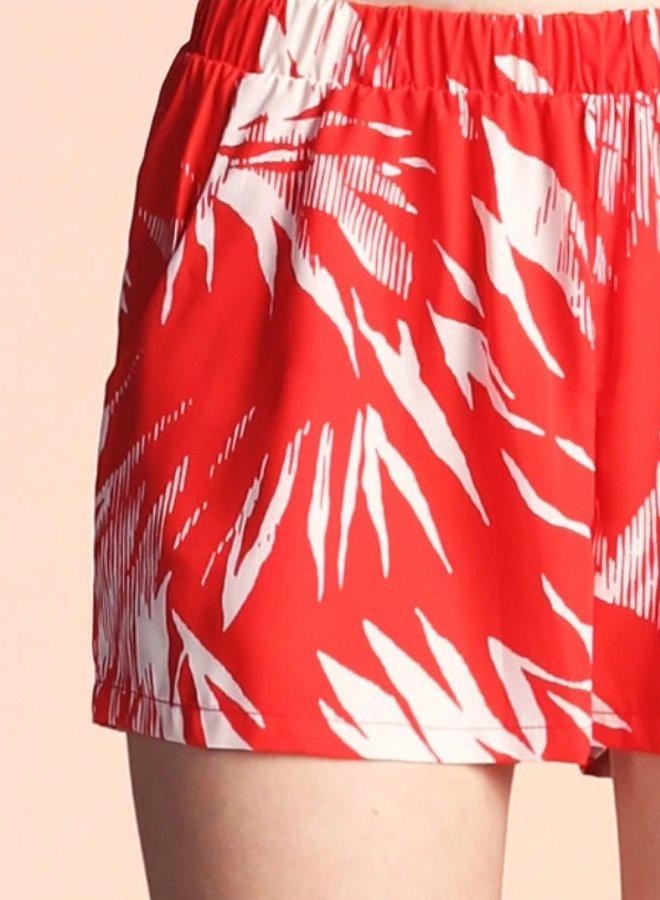 shadow leaf print shorts