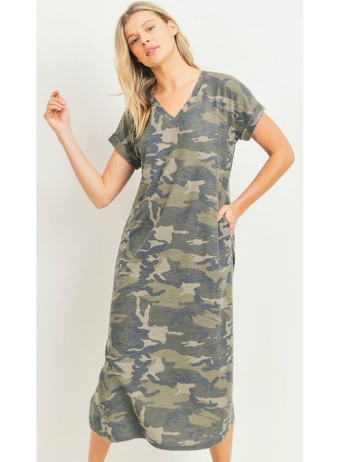 camo print French Terry Knit dress