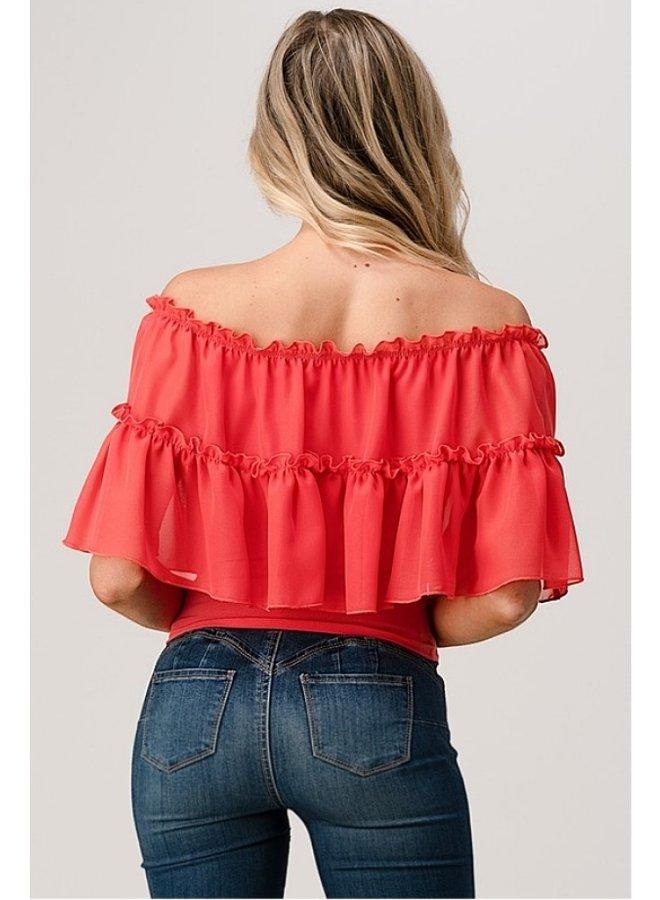 ruffle off shoulder top
