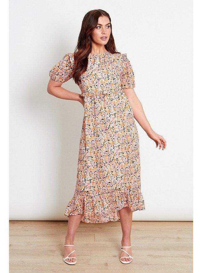 multi ditsy print midi dress
