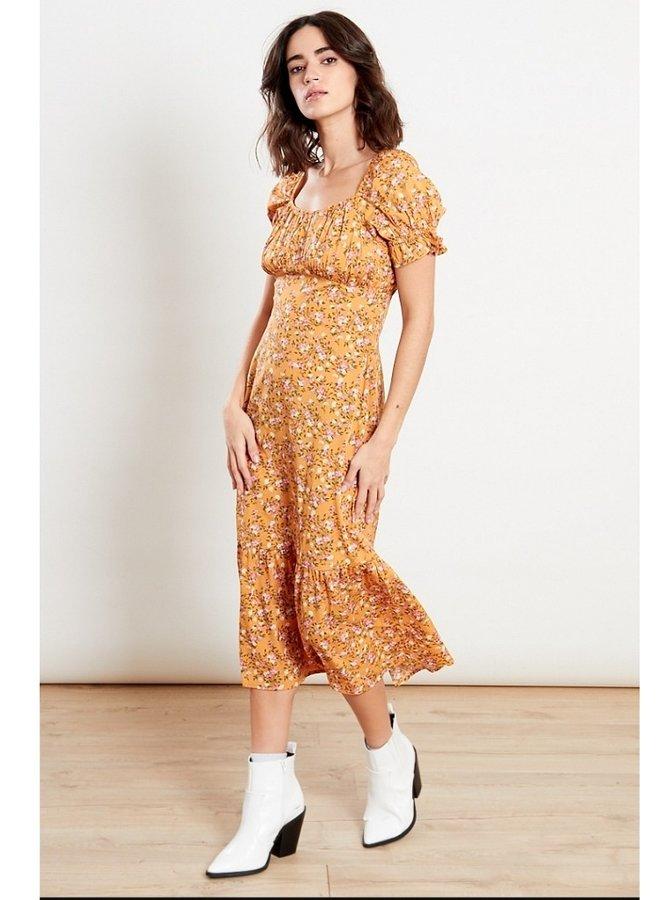 orange ditsy print midi dress