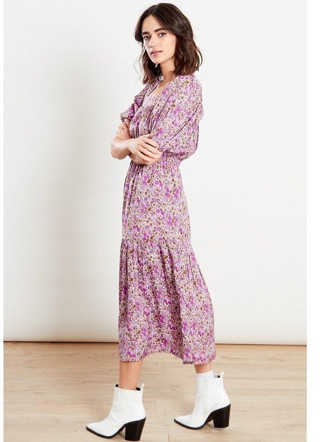 purple floral midi dress