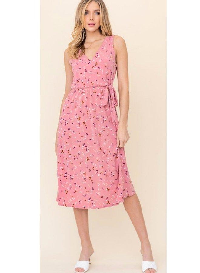 sleeveless faux wrap side tie midi dress