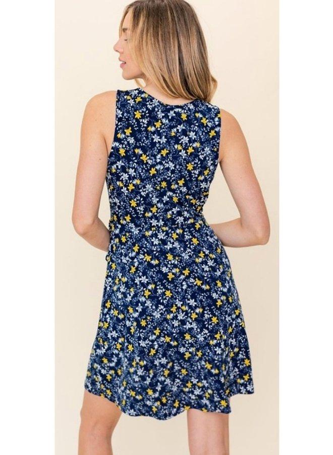 sleeveless faux wrap  mini dress