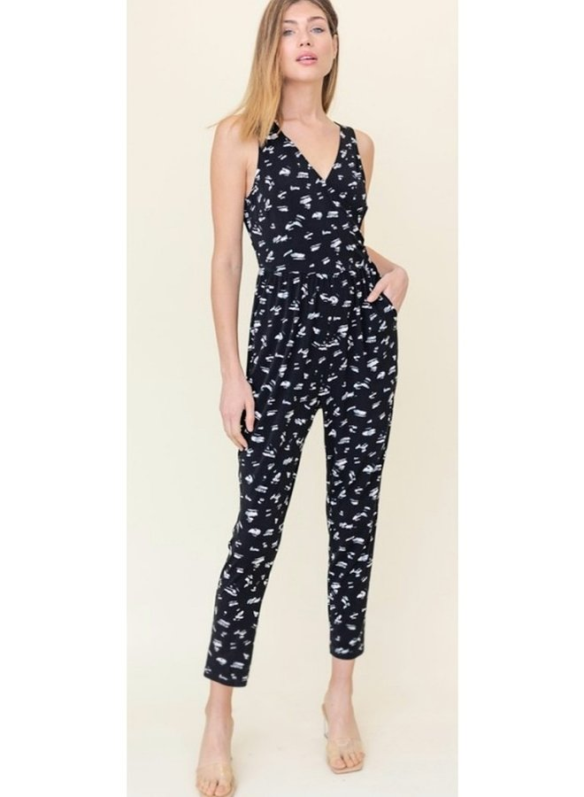 black and white  skinny leg abstract jumpsuit