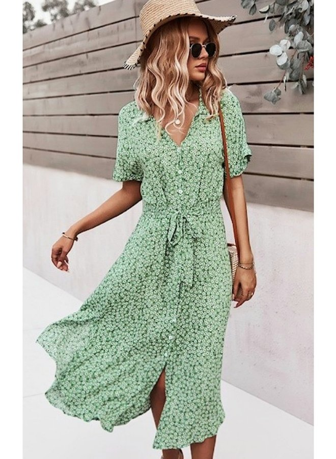 Ditsy print buttoned midi dress