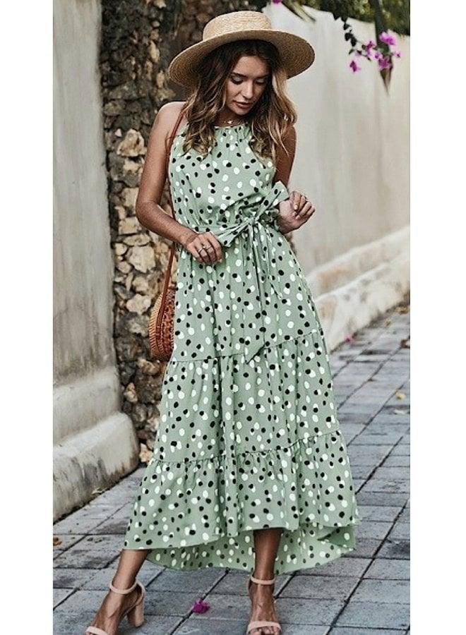 Dot print halter maxi dress
