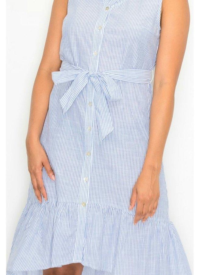 pinstripe ruffle collar button down A-line dress