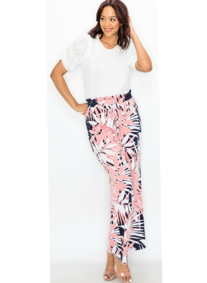 tropical print wide leg pants