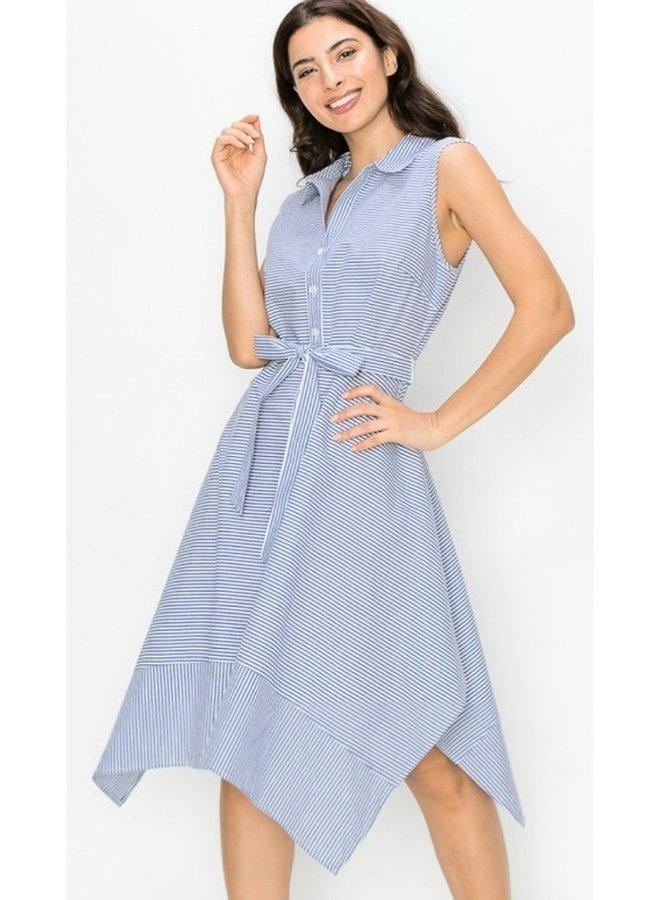 sleeveless button down A-line dress